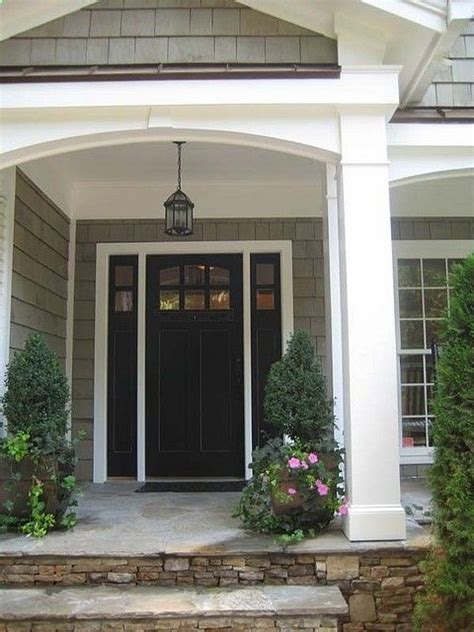 Exterior Porch Doors Gray Siding White Trim Black Front Door House