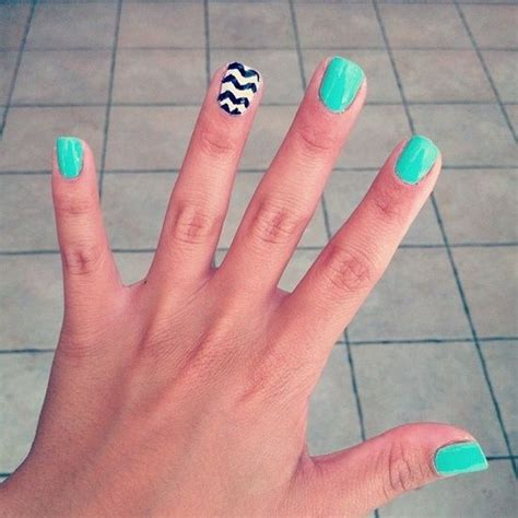 chevron pattern for nails summer nails mint light teal with black and white