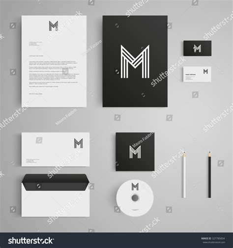 Stationery Template Letter M Logo Corporate Stock Vector 327785834 Shutterstock Brand Identity Template