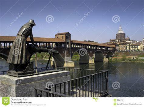 il mattone pavia pavia ponte coperto sopra il fiume ticino immagine