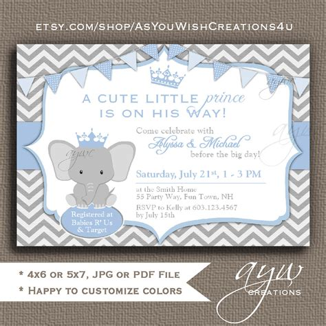 Baby Elephant Shower Invitations by Elephant Baby Shower Invitation Blue Grey Prince Baby Shower