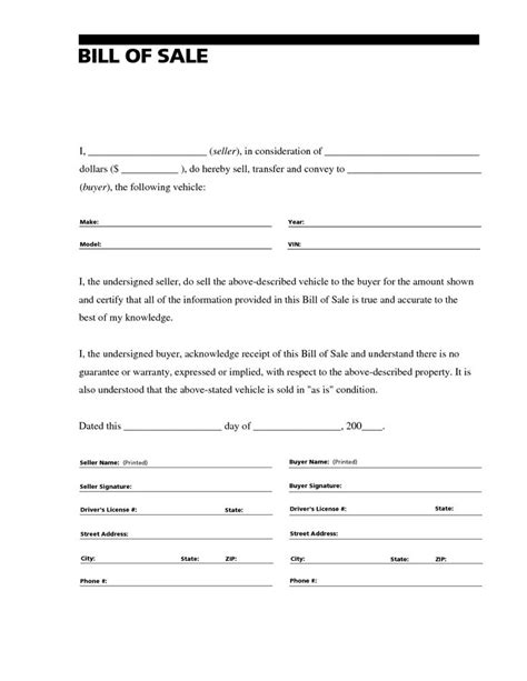 bill of sale template free printable sle free car bill of sale template form