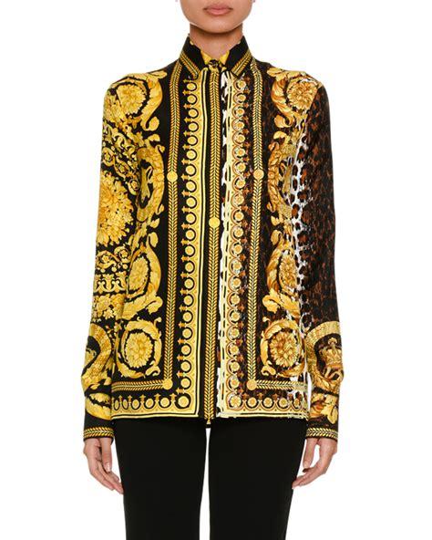 lee seung gi versace versace baroque leopard print button front silk twill