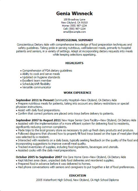 Aide Resume Summary Professional Dietary Aide Templates To Showcase Your Talent Myperfectresume