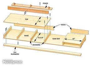 Simple Wooden Work Bench Plans by How To Build A Miter Saw Table The Family Handyman
