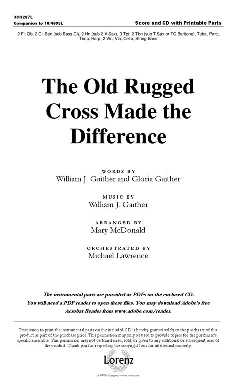 the rugged cross made the difference soundtrack the rugged cross made the difference orchest j w pepper sheet