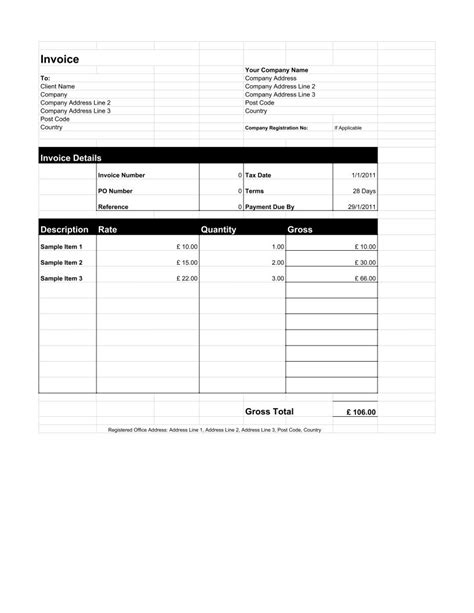 Freelance Invoice Template for Limited Company - PDF