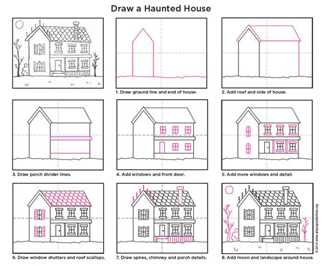 how to house a draw a haunted house projects for