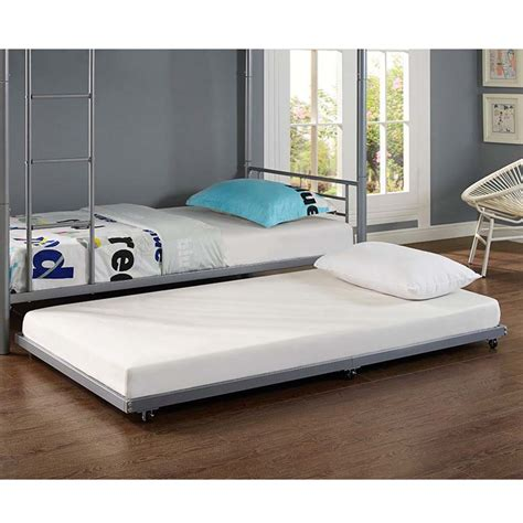 twin trundle beds walker edison twin roll out trundle bed frame silver bt40tbsl