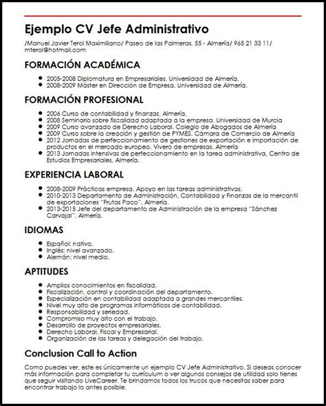 Modelo Curriculum Jefe De Recursos Humanos Ejemplo Cv Jefe Administrativo Micvideal
