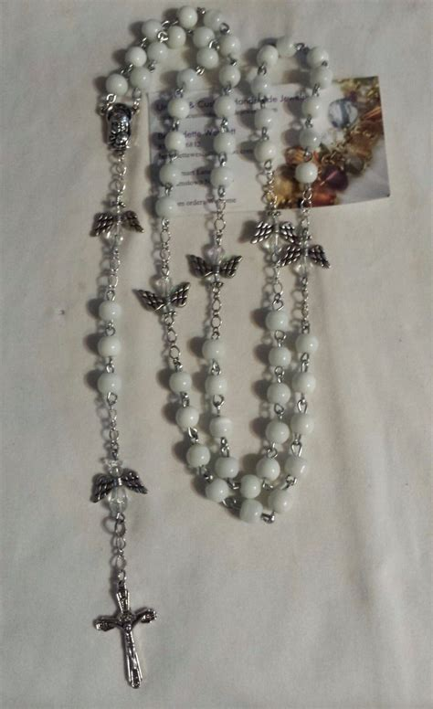 Handmade Rosaries For Sale - white cat s eye silver plated handmade rosary for