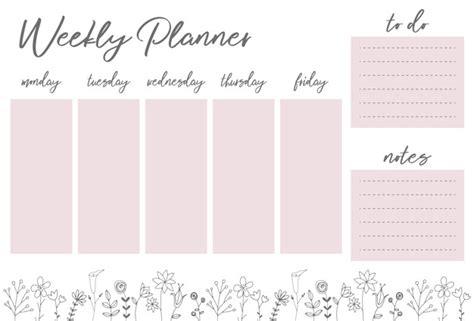 weekly planner  flowers stationery organizer