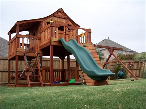 wooden swing set with fort redwood fort stockton swingset playsets pinterest