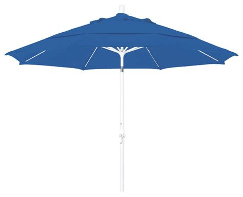 Patio Umbrella White Pole 11 Foot Pacifica Crank Lift Collar Tilt Aluminum Patio Umbrella White Pole Contemporary