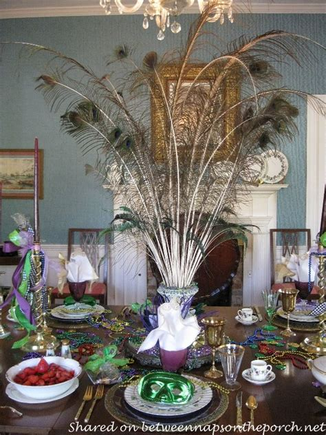 Dining Room Table Centerpieces Ideas by A Mardi Gras Brunch Table Setting Tablescape