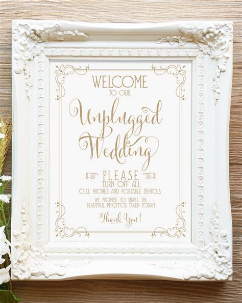 Welcome To Our Unplugged Wedding Sign   8 X 10 Sign   DIY