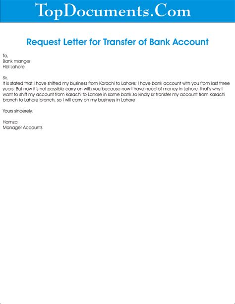 Transfer Letter Format For Bank Account Bank Account Transfer Application Top Docx