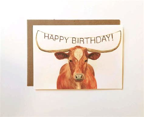 Long Horn Gift Card - texas longhorn happy birthday card birthday cards for