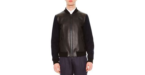 Original Moutley Twotone Bomber Jacket Blue valentino two toned leather bomber jacket in blue navy lyst