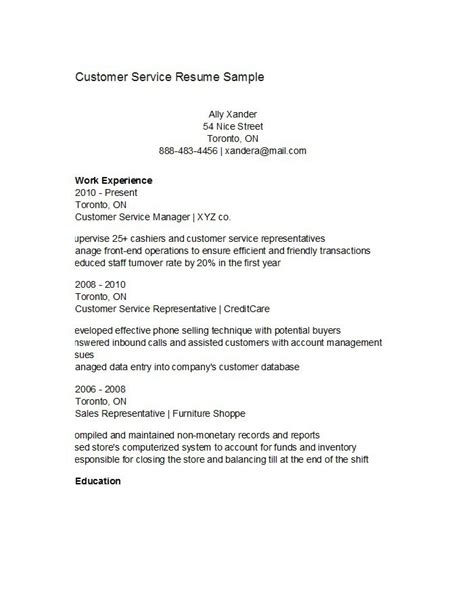 Exles Of Customer Service Resumes by Free Customer Service Resume Templates 28 Images 301