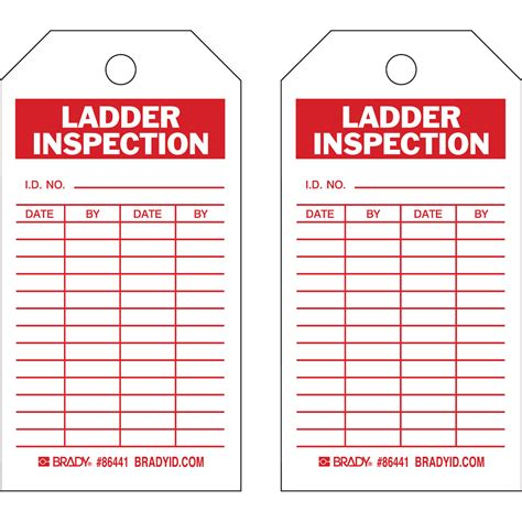 ladder inspection template brady part 86441 inspection material tags