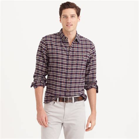 j crew cotton wool patch shirt in vintage navy plaid