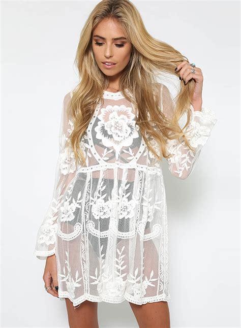 Sleeve Lace Sheer Dress s fashion sleeve sheer lace dress roawe