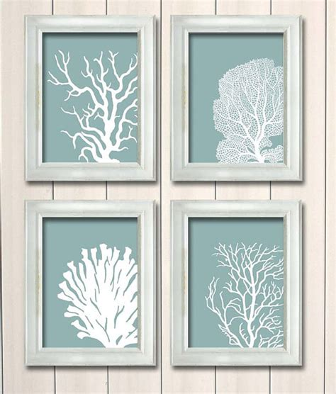 hanging art prints set 4 coral prints mist blue green nautical print by