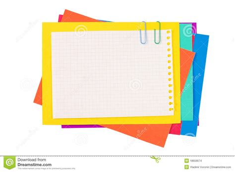 Colour Paper With A Paper Clip Stock Images Image 18656674