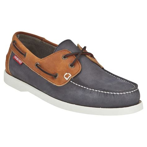 chaussures bateau cuir homme cr500 bleu marron tribord