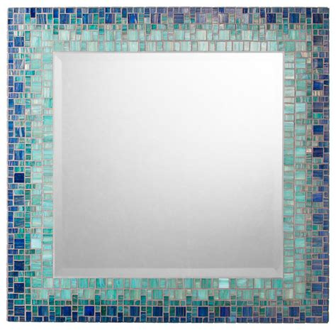 blue bathroom mirror mosaic mirror deep blue teal handmade 18