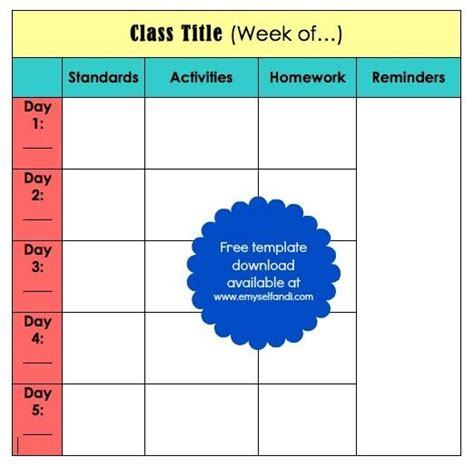 block schedule lesson plan template free teaching tuesday classroom organization binder lesson