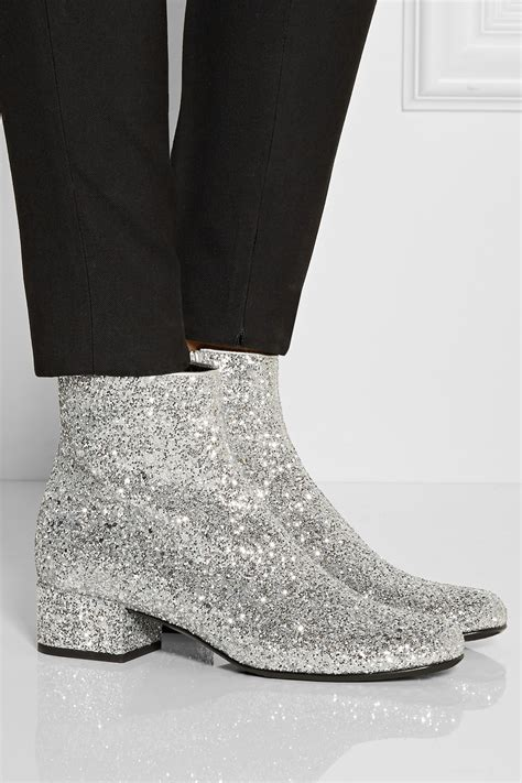 Shoe La La Silver Ankle Boots For by Laurent Glitter Finished Ankle Boots In Metallic Lyst