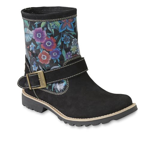s floral boots walrus s jackie black floral leather ankle boot