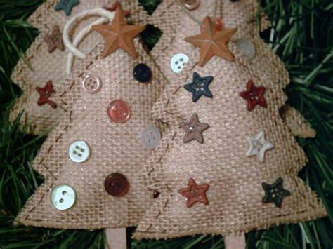 country style ornaments 4 new handmade primitive rustic country style burlap trees