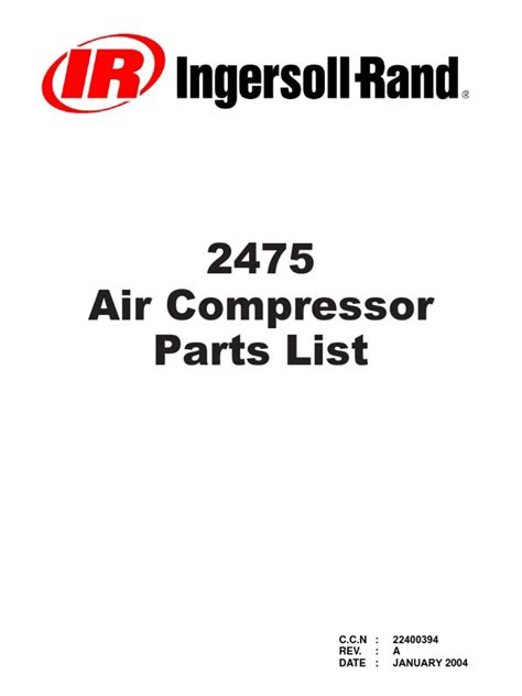 Ingersoll Rand 2475 Parts Manual