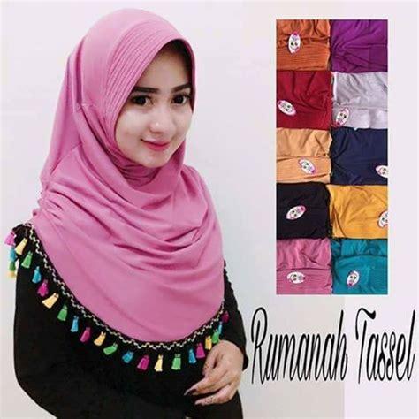 Jilbab Rumana Tassel Murah model jilbab langsung pakai rumana tassel jilbab instan