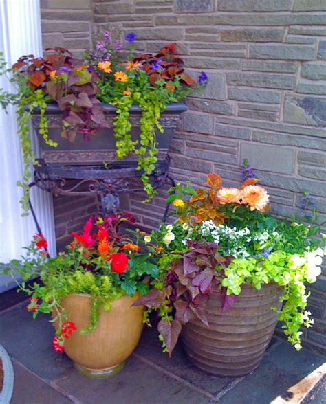 flower pots designs front porch awesome flowers pots design with brown round