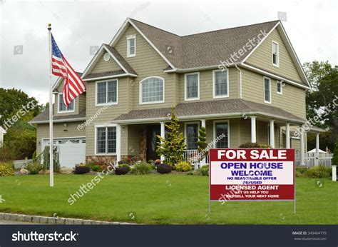 open house estate sales american flag pole real estate sale stock photo 349464779 shutterstock