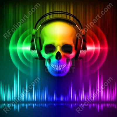 skull  headphones  spectrum disco background