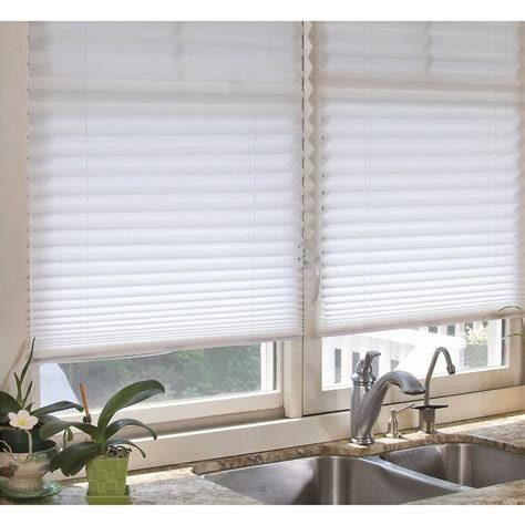 l shades redi shade white fabric corded light filtering pleated shade 48 in w x 72 in l 2304222 the