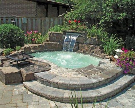 20 backyard pool design ideas for a hot summer inground hot tub with waterfall and fire pit patio