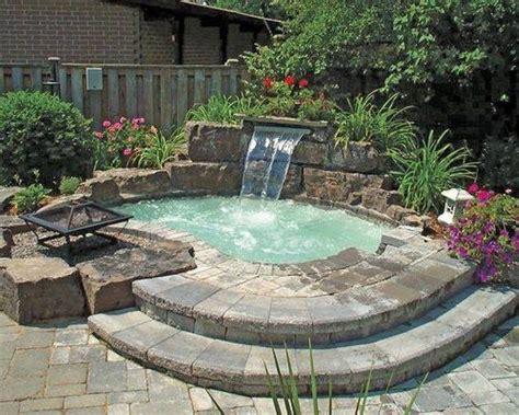 diy inground tub inground tub with waterfall and pit patio