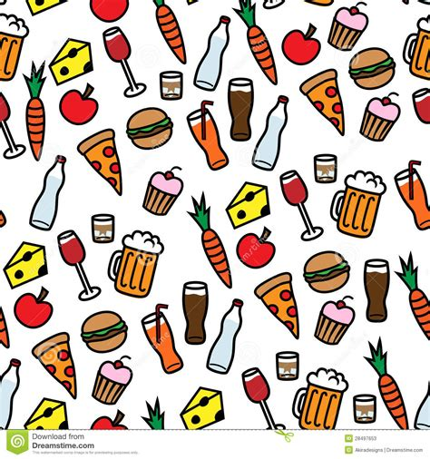 Seamless Background Pattern With Food And Drinks Stock