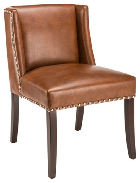 contemporary bonded leather wingback chair mission hills low back wing dining chair in bonded leather saddle