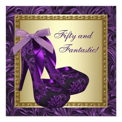 Purple Birthday Card Template by High Heel Shoes Womans Purple 50th Birthday Card