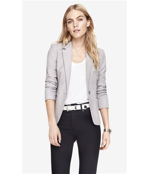express 24 inch one button jacket in gray lyst