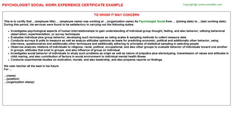 Social Psychologist Cover Letter by Social Science Research Assistant Work Experience Certificates