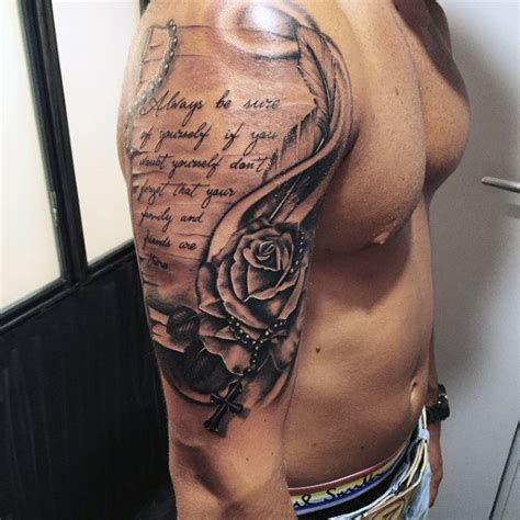 tattoos quotes for men on arm 100 rosary tattoos for sacred prayer ink designs