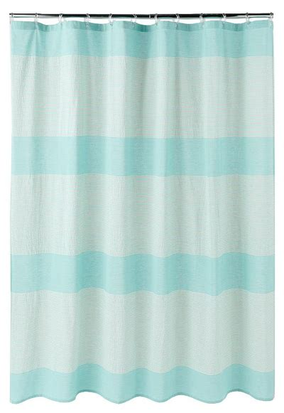 turquoise striped curtains oceanside striped fabric shower curtain everything turquoise